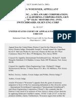 """Amelia Woessner v. Air Liquide, Inc., a Delaware Corporation Cardox Inc, a California Corporation Gen Elec Co """"D"""" Elec Motors Inc Intl Switchboard Olsen Eng Corp, 242 F.3d 469, 3rd Cir. (2001)"""