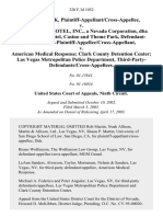 Fernando Duk, Plaintiff-Appellant/cross-Appellee v. Mgm Grand Hotel, Inc., a Nevada Corporation, Dba Mgm Grand Hotel, Casino and Theme Park, Defendant-Third-Party-Plaintiff-Appellee/cross-Appellant v. American Medical Response Clark County Detention Center Las Vegas Metropolitan Police Department, Third-Party-Defendants/cross-Appellees, 320 F.3d 1052, 3rd Cir. (2003)