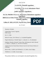 Roy Melancon v. Western Auto Supply Co., Defendants-Third Party Plaintiffs-Appellees-Appellants v. M.T.D. Products, Third Party Defendants-Appellees-Appellants. Briggs & Stratton, Third Party Defendant-Fourth Party v. Lillian D. Melancon, Fourth Party, 628 F.2d 395, 3rd Cir. (1980)