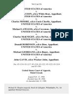 United States v. Michael Grayson, A/K/A White Bear, United States of America v. Charles Moore, A/K/A Uncle Charlie, United States of America v. Michael Lawless, A/K/A Caveman, United States of America v. Charles McKnight A/K/A McNut United States of America v. Donald Robinson, A/K/A Dino, United States of America v. Michael Giordano, A/K/A Bugsy, United States of America v. John Gavis, A/K/A Wacker John, 795 F.2d 278, 3rd Cir. (1986)