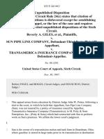 Beverly A. Giles v. Sun Pipe Line Company, Defendant-Third Party v. Transamerica Insurance Company, Third Party, 833 F.2d 1012, 3rd Cir. (1987)