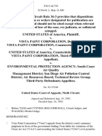United States v. Vista Paint Corporation, Vista Paint Corporation, Counterclaimant-Appellant v. United States of America, Counterdefendant-Appellee. Vista Paint Corporation, Third-Party v. Environmental Protection Agency South Coast Air Quality Management District San Diego Air Pollution Control District Air Resources Board Technical Review Group Third-Party, 976 F.2d 739, 3rd Cir. (1992)
