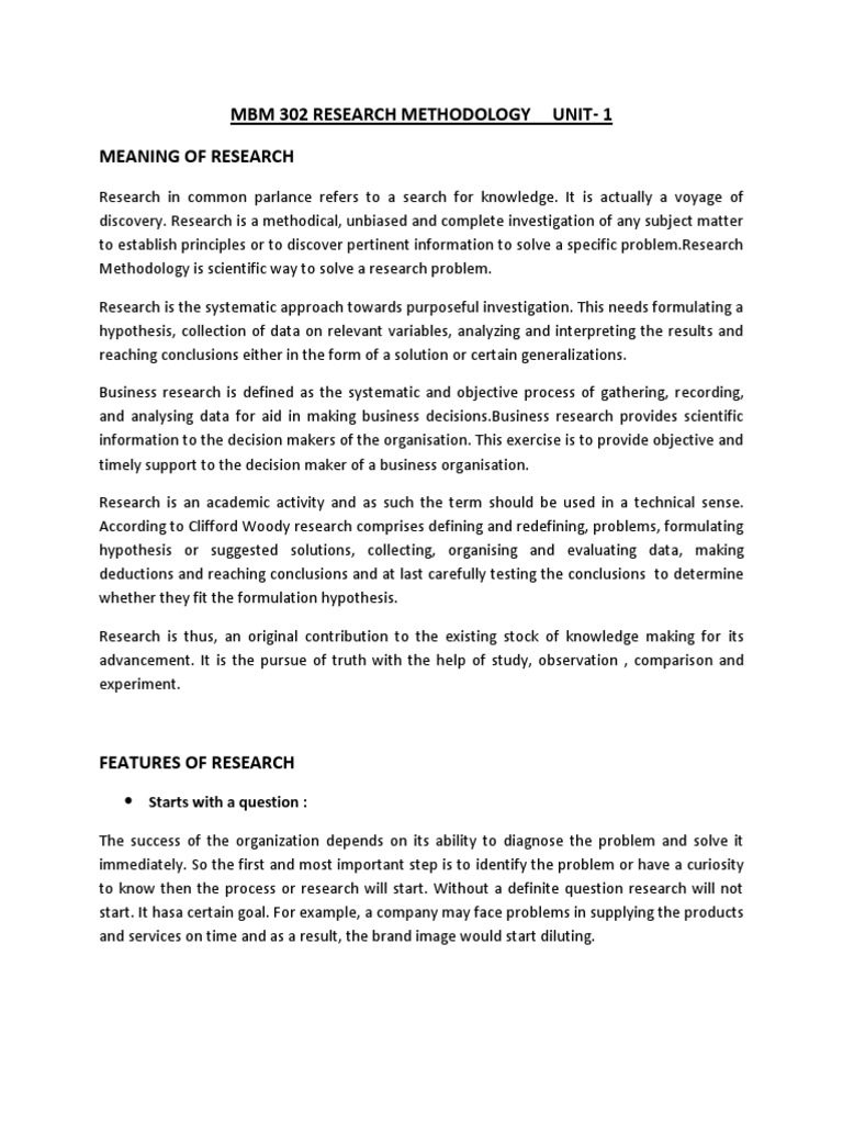 Mbm 302 Research Methodology Unit-1 Meaning Of Research