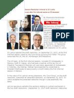 How Govt Co-sponsored Geneva Resolution Inimical to Sri Lanka-Shocking Change of Position Soon After First Informal Session on US Document
