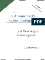 La Autonomía Del Sujeto Investigador 3ra Edic Df