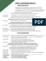 DTU Academic Calendar 2016