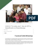 """10.08.16 """"No están solos"""", dice de EPN a damnificados en Huauchinango"""