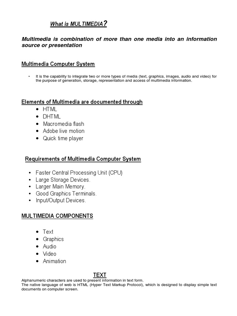 introduction to multimedia notes | Computer Graphics | Multimedia