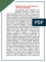 Enfoque e Importancia de La Investigación de Ciencia y Tecnología