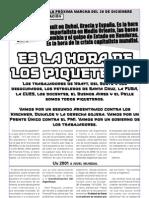 Declaracion ante la marcha del 20 de diciembre