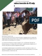 11-07-16 Anuncia Gobernadora Inversión de 45 Mdp Para Magdalena. -El Imparcial