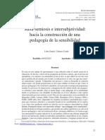 Meta-semiosis e Intersubjetividad Hacia La Construcción de Una Pedagogía de La Sensibilidad