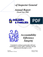 Office of Inspector General, Florida Department of Children and Families, Annual Report FY 1999