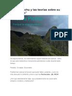 Machu Picchu y Las Teorías