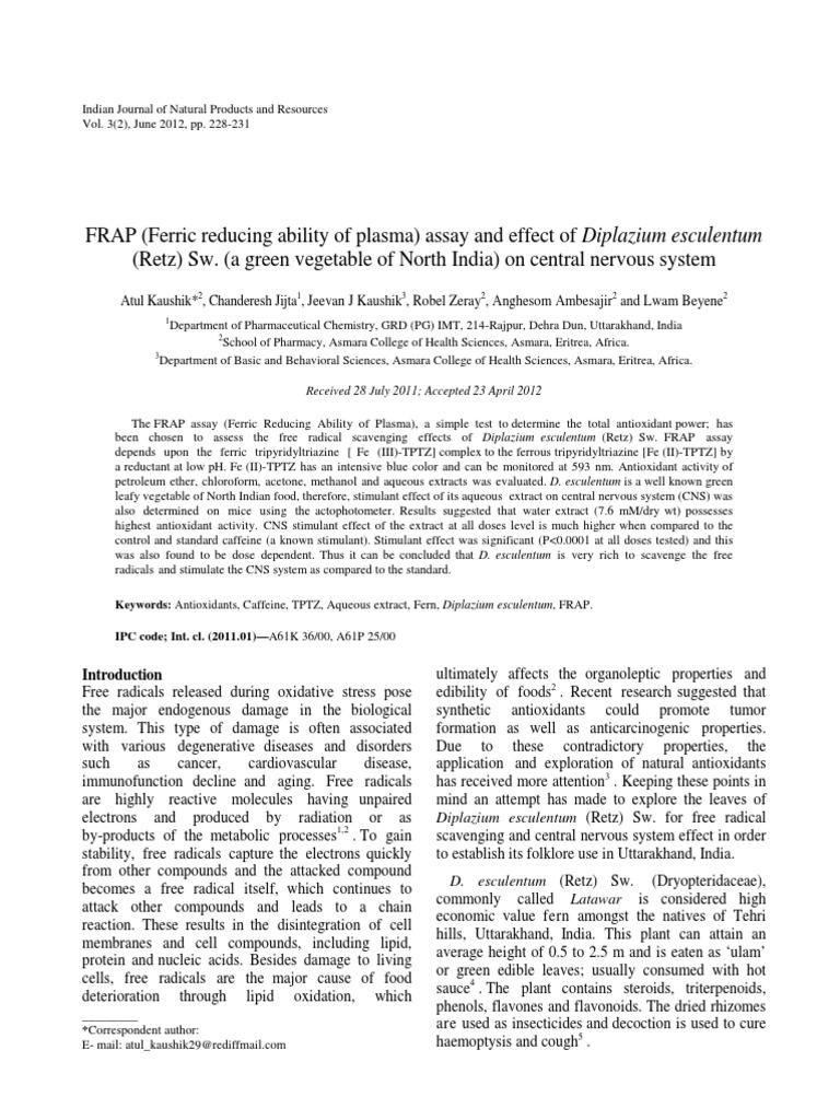 Effect Central Nervous System of Diplazium Esculentum   Radical ...