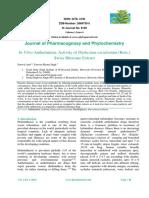 In-Vitro Anthelmintic Activity of Diplazium Esculentum (Retz.)