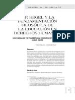 Hegel y la Fundamentacion Filosofica De La Educacion En los Derechos Humanos