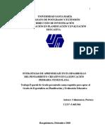 ESTRATEGIAS DE APRENDIZAJE EN EL DESARROLLO DEL PENSAMIENTO CREATIVO EN LA EDUCACIÒN PRIMARIA VENEZOLANA.