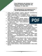 Sambutan Orang Tua Wisudawan Periode 100 Juni