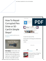 How to Repair Corrupted Pen Drive or SD Card in Simple Steps