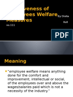 Effectiveness of Employees Welfare Measures