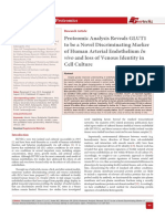 Proteomic Analysis Reveals GLUT1 to be a Novel Discriminating Marker of Human Arterial Endothelium In vivo and loss of Venous Identity in Cell Culture