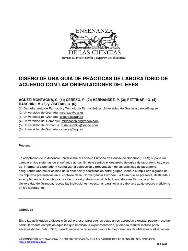 DISEÑO DE UNA GUIA DE PRÁCTICAS DE LABORATORIO DE ACUERDO CON LAS ...