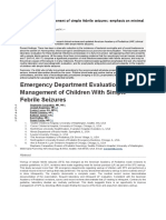 Update on the Management of Simple Febrile Seizures