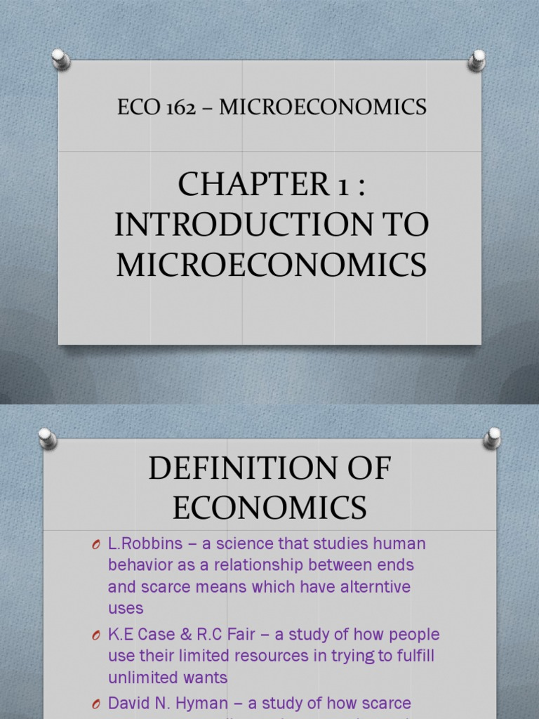 Chapter 1 Introduction to Microeconomics | Economic Theories