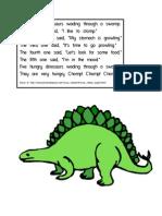 5 Little Dinosaurs Felt Board Pieces or Stick Puppets