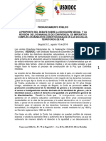 Pronunciamiento Usdidoc-sindodic - Educ Sexual y Revision Manuales Convivencia