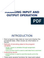 Managing Input and Output Operation