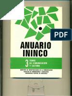 ANUARIO ININCO TEMAS DE COMUNICACIÓN Y CULTURA. VOL3. 1990.