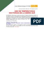 Descenso temperaturas nocturnas en sierra sur