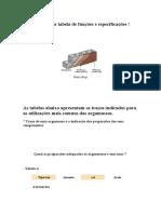 Argamassas Tabela de Funções e Especificações