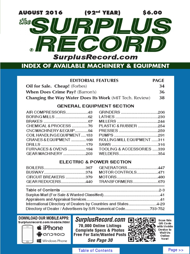 37b0bfa0e6f August 2016 Surplus Record Machinery & Equipment Directory