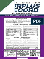 September 2016 Surplus Record Machinery & Equipment Directory