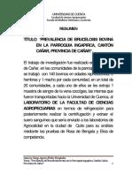 Prevalencia de Brucelosis Bovina en Ecuador