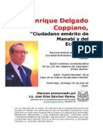 Enrique Delgado Coppiano. Ciudadano emérito