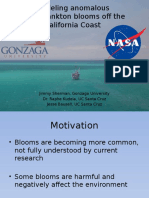 Computer modeling of anomalous phytoplankton blooms off the California Coast