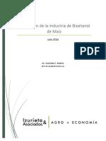 Situación de la Industria del Bioetanol de Maíz - Julio 2016