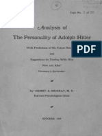 Analysis of the Personality of Adolf Hitler