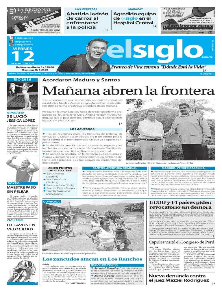 Edición Impresa 12 08 2016 | Venezuela | Nicolás Maduro