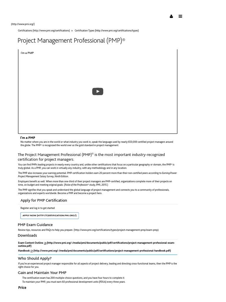 Project Management Professional Certification Pmp Project