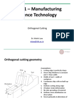 ME361 Orthogonal Cutting