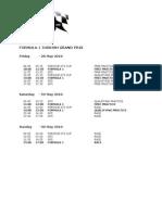 Formula 1 Turkish Grand Prix Timetable