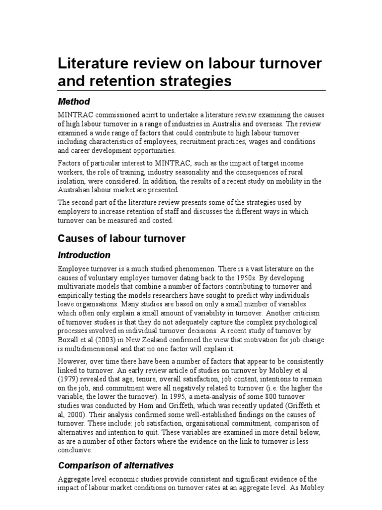 literature review on labour turnover and retention strategies mintrac