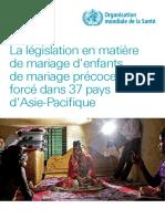 La législation en matière de mariage d'enfants, de mariage précoce ou forcé dans 37 pays d'Asie-Pacifique