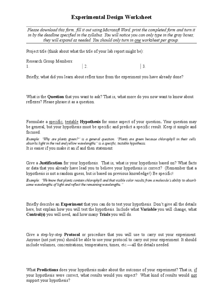 worksheet Design An Experiment Worksheet experimental design sheet experiment hypothesis