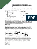 Questões Resolvidas de Vestibulares Sobre Dilatação Térmica